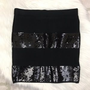 Guess Sequin Striped Stretch Bandage Skirt